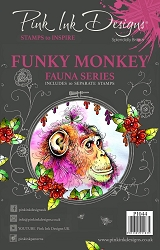 Pink Ink Designs A5 Clear Stamp Set - Funky Monkey