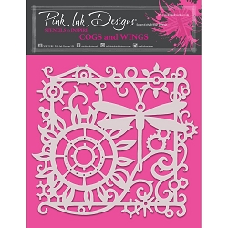 Pink Ink Designs - Cogs & Wings 8x8 Stencil