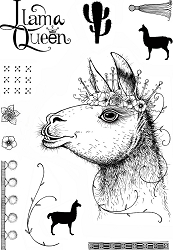 Pink Ink Designs A5 Clear Stamp Set - Llama Queen