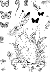 Pink Ink Designs A5 Clear Stamp Set - Meadow Hare