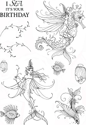 Pink Ink Designs A5 Clear Stamp Set - Sea Nymphs