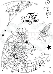 Pink Ink Designs A5 Clear Stamp Set - Dragon