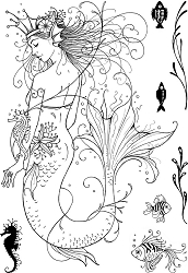 Pink Ink Designs A5 Clear Stamp Set - Mermaid