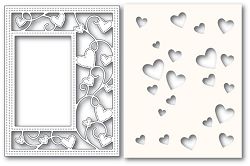 Poppy Stamps - Die - Ribbon Heart Sidekick Frame and Stencil