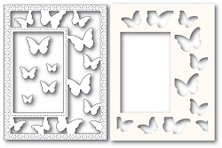 PoppyStamps - Die - Beautiful Butterflies Sidekick Frame and Stencil