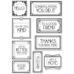 Poppy Stamps - Clear Stamp Set - Art Deco Frames and Phrases