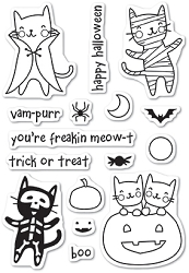 Poppy Stamps - Clear Stamp Set - Halloween Costume Cats clear stamp set