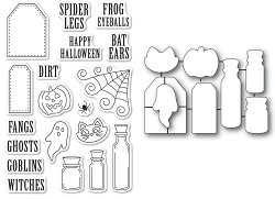 PoppyStamps - Halloween Ingredients clear stamp and die set