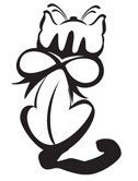 Prickley Pear - Cling Rubber Stamp - Small Kitty with Ribbon