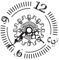 Prickley Pear - Cling Rubber Stamp - Gears Clock Face