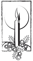 Prickley Pear - Cling Stamp - Candle with Holly