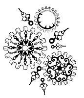 Prickley Pear - Cling Stamp - Gears Background