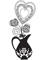 Prickley Pear - Cling Rubber Stamp - Vase with Heart