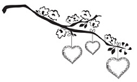 Prickley Pear - Cling Rubber Stamp - Branch with Hearts