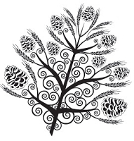 Prickley Pear - Cling Stamp - Pinecone Leaf