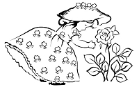 Prickley Pear - Cling Stamp - Little Girl with Rose