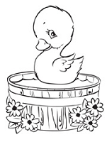 Prickley Pear - Cling Rubber Stamp - Duck in Tub