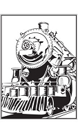 Prickley Pear - Cling Stamp - Vintage Train ATC