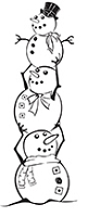 Prickley Pear - Cling Stamp - Stacked Snowmen