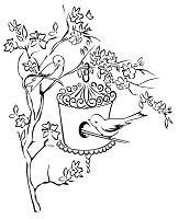 Prickley Pear - Cling Stamp - Birds, Branches & Birdhouse