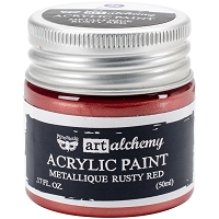 Prima - Art Alchemy - Acrylic Paint-Metallique Rusty Red by Finnabair