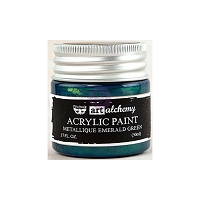 Prima - Art Alchemy - Acrylic Paint-Metallique Emerald Green by Finnabair