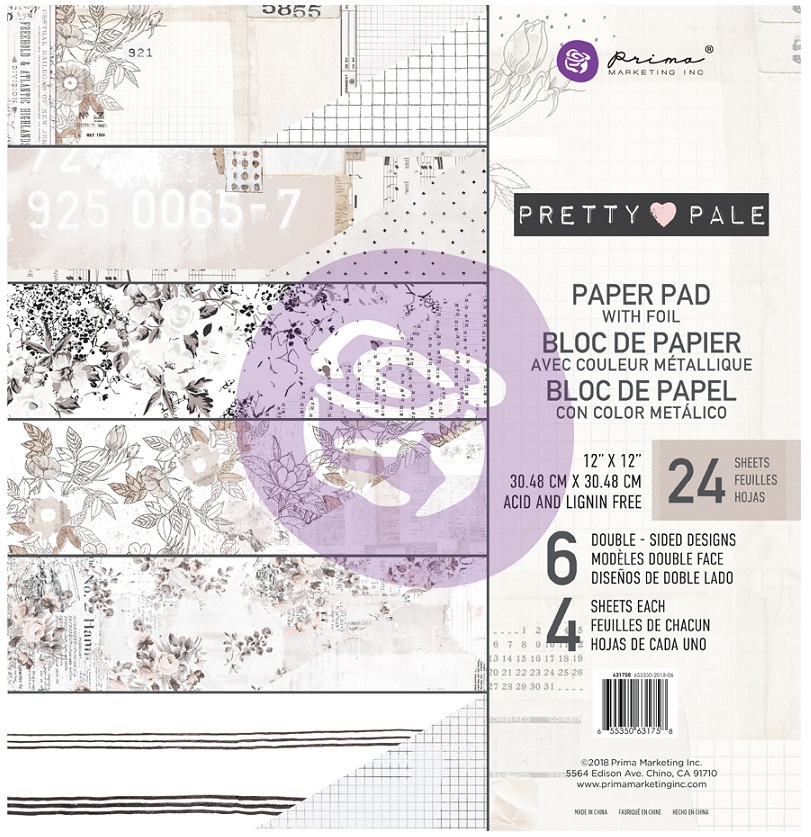 Prima - Pretty Pale Collection - 12x12 Paper Pad