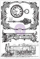Prima - Time Traveler's Memories Collection - Cling Stamp - Time Together