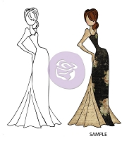 Prima - Cling Mounted Rubber Stamp - Mixed Media Dolls - Tasha Doll with Evening Dress by Julie Nutting