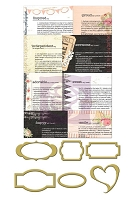 Prima - Lycric Collection - Metal Trinkets - Newsprint Mini Frames