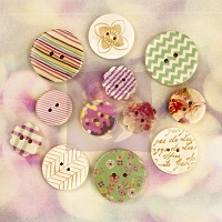 Prima - Wood Buttons - Hello Pastel