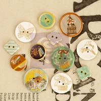 Prima - Wood Buttons - Lady Bird