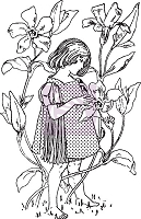 Prima - Fairy Rhymes Collection - Clear Stamp #1 (Girl in flowers)