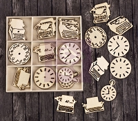 Prima - Wood Icons in a Box - Typewriters and Clocks :)