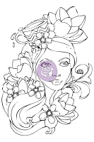 Prima - Bloom Girl Collection - by Jamie Dougherty - Cling Stamp Set - Paige