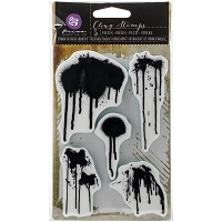 Prima - Cling Rubber Stamps - Mixed Media Paint Drips