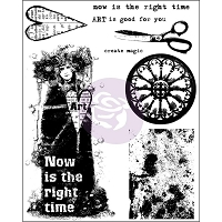 Prima - Cling Stamp - Now Is The Right Time by Finnabair