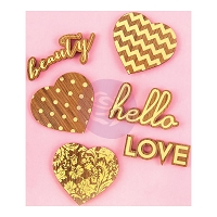 Prima - Wooden Icons w/ Foil - Hearts & Phrases
