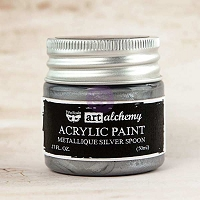 Prima - Art Alchemy - Acrylic Paint-Metallique Silver Spoon by Finnabair