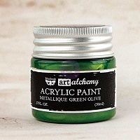 Prima - Art Alchemy - Acrylic Paint-Metallique Green Olive by Finnabair