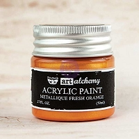 Prima - Art Alchemy - Acrylic Paint-Metallique Fresh Orange by Finnabair