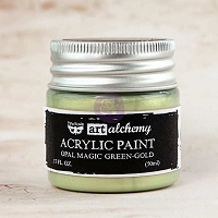 Prima - Art Alchemy - Acrylic Paint-Opal Magic Green-Gold by Finnabair