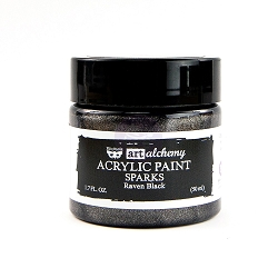 Prima - Art Alchemy Acrylic Paint - Sparks Raven Black by Finnabair