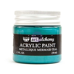 Prima - Art Alchemy - Acrylic Paint - Metallique Mermaid Teal by Finnabair