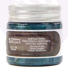 Prima - Art Alchemy Acrylic Paint - Metallique Stormy Ocean by Finnabair