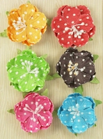 Prima Polka Dot Paper Flowers - Bright Cupped