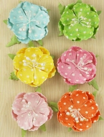 Prima Polka Dot Paper Flowers - Pastel Cupped