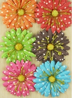 Prima Polka Dot Paper Flowers - Bright Large Daisies
