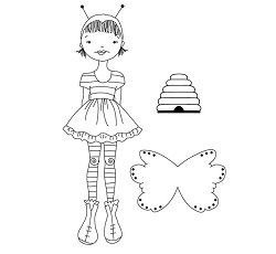 Prima - Cling Mounted Rubber Stamp - by Julie Nutting - Bee Girl