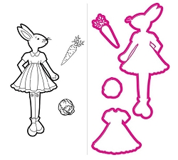 Prima - Cling Mounted Rubber Stamp - by Julie Nutting - Bunny with matching die